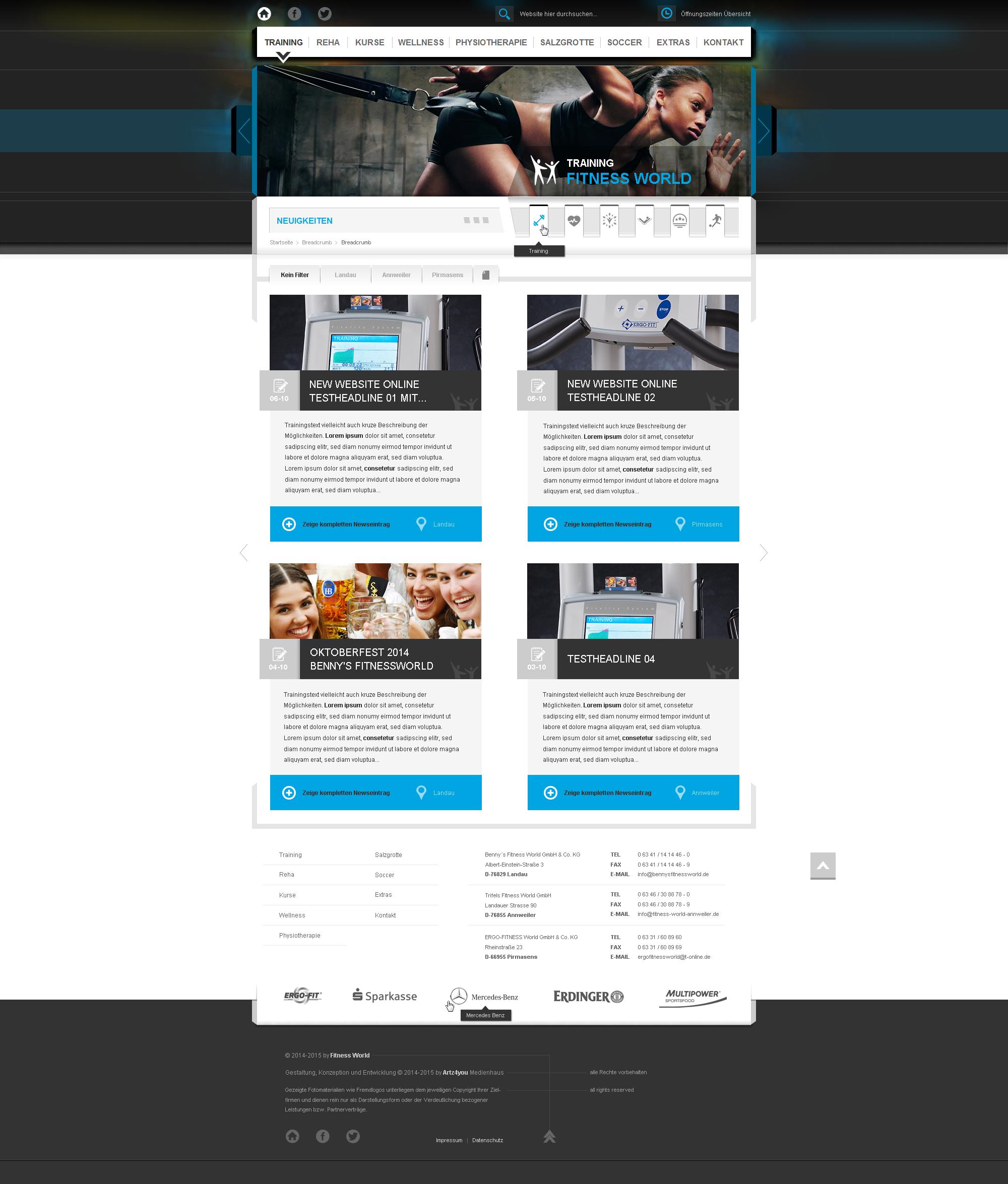 Mainlayout-Indexdesign inkl. 20 Unterseitengestaltungen