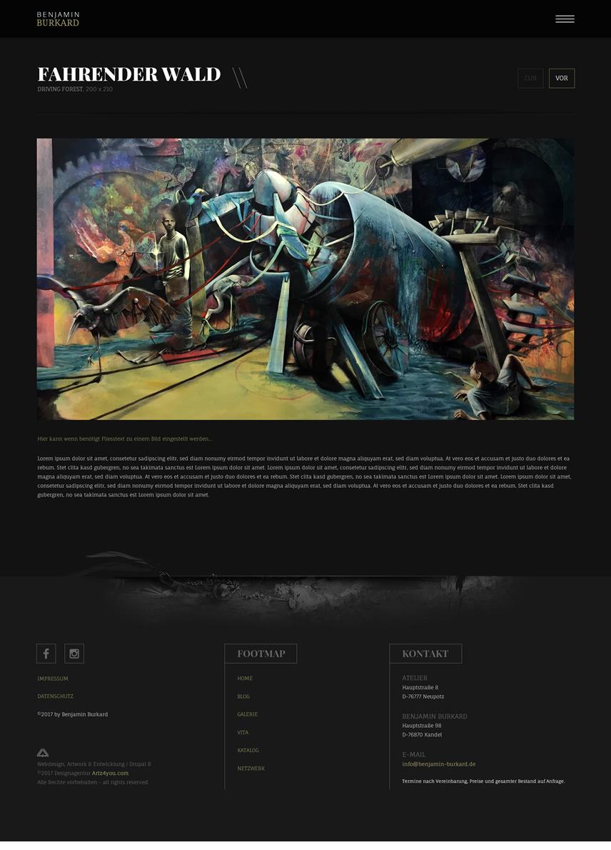 Galerie-Blogdetails, Unterseiten-Webdesign