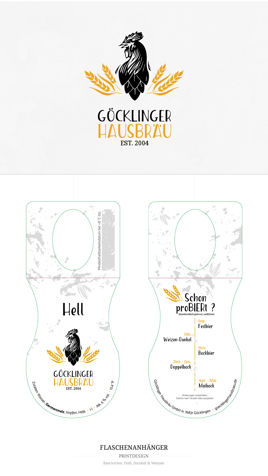 Logodesign, CI, Printdesign, Flaschenanhänger