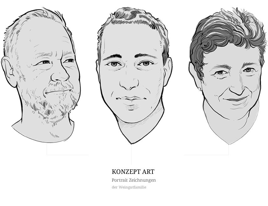 Portrait-Zeichnungen-Weingutfamilie