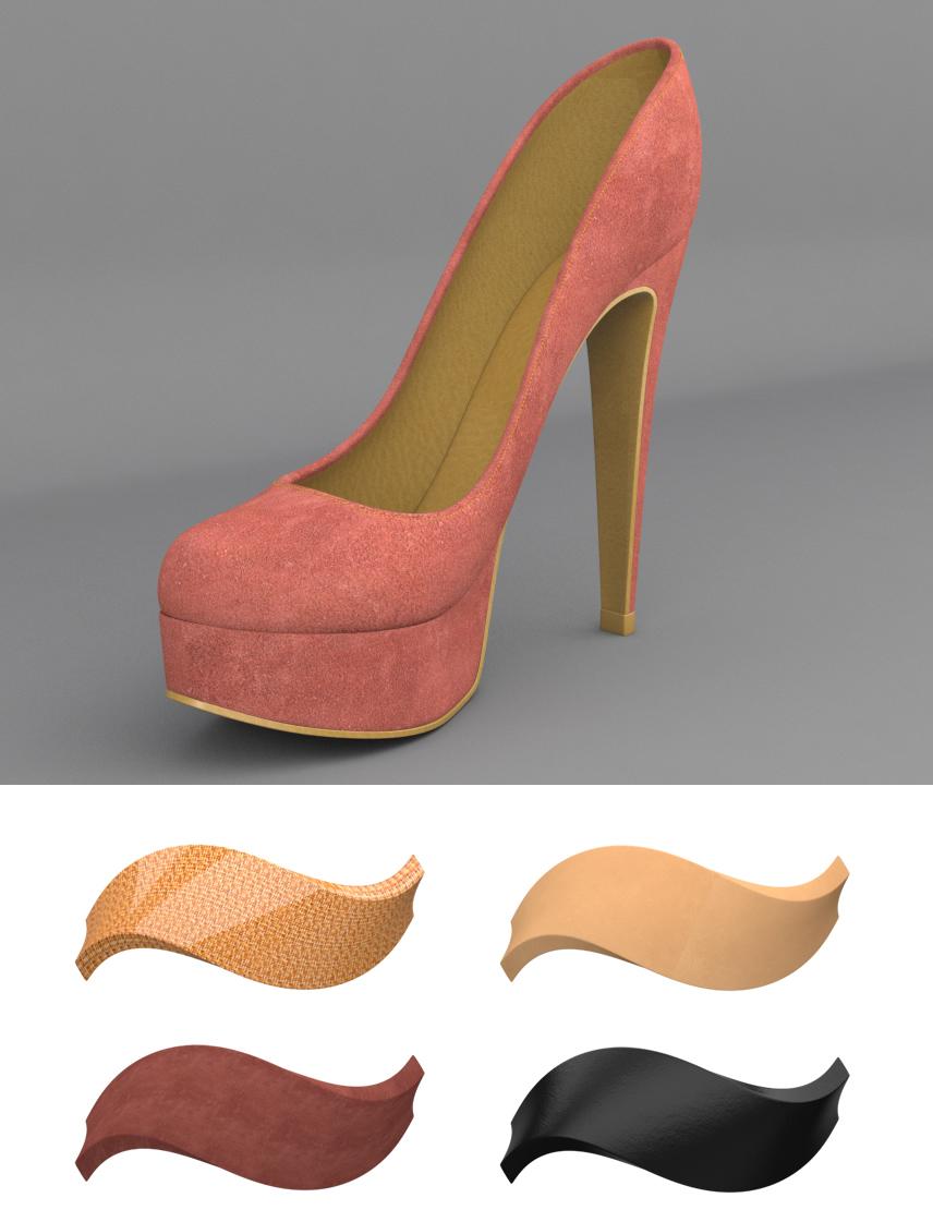 Auszüge aus einem 3D Modell und einigen Materialthumbs