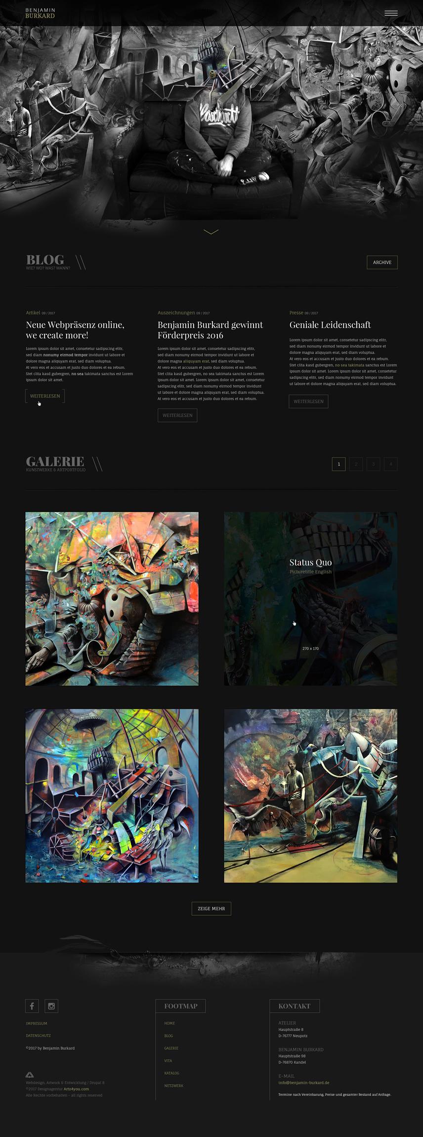Artwork, Startseiten-Webdesign