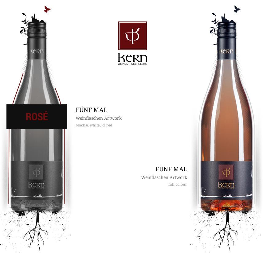 Weingut Kern Logodesign-Flaschenartwok